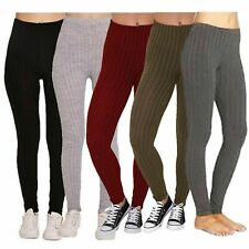 NEW WOMENS LADIES WARM THICK CHUNKY RIBBED  KNITTED LEGGINGS