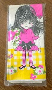 Vintage 70s Girl Birthday Party Paper Table Cover Tablecloth 54 x 90 Unopened