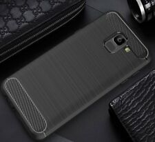 For Samsung Galaxy J6 (2018) Case Carbon Fibre Cover & Glass Screen Protector
