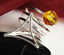 Design 925 Silber DAMEN RING mit SWAROVSKI Stein, Sun Flower, VERSTELLBAR