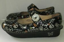 Alegria Paloma Peace & Love Mary Jane Clogs Shiny Black Size 38 US 8-8.5 NICE