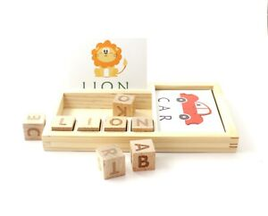 English Word Learning Wooden Cardboard Game for Kids Children Preschool Wood