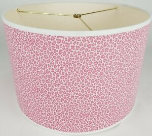 """NEW Drum Lamp Shade 15"""" Dia 10"""" H Pink White Leopard Print Fabric"""