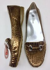 NWOT White Mountain 9.5 Bronze WIDE Croco Leather Shoe Loafer Moccasins Flats
