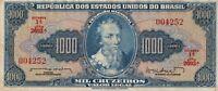 Vintage Brazil 1000 Cruzeiros Banknote 1961-1963 Pick 173b no stamp ABNC