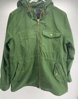J. Crew 100% Cotton Coat Heavy Work Chore Jacket W/Detachable Hood Green Sz L