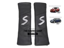 """2x pastillas de cubiertas de cinturón de seguridad de cuero """"S"""" Gris Bordado Para BMW Mini Cooper"""