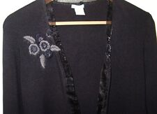 URCHIN MARK EISEN L Black Silk Spandex Open Cardigan Sweater Crewel Embroidery
