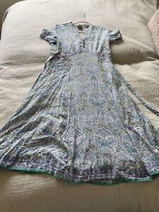 Lovely East Artisan Anokhi Blue Green Purple Paisley Summer Dress Size 12