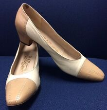 Salvatore Ferragamo Pumps 9 AA Narrow Cream & Tan Leather Heels 1 3/4""