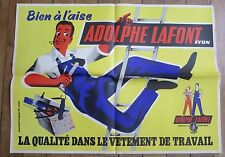 ADOLPHE LAFONT LYON vetements de travail  ancienne affiche illustrée