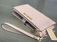 NWT Michael Kors Fawn Ballet Pink MK Signature Double Zip Phone Wallet Wristlet