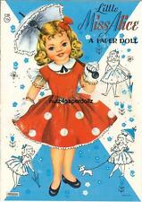 Vintge 1950s Miss Alice Paper Dolls ~Saalfeild~ Uncut Laser Reprodction Top Sell