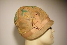 Vtg 1920'S 30'S Woven Straw Embroidered Flapper Cloche Hat