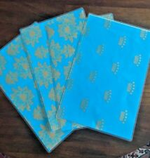 Placemats Turquoise Gold Crown Bee Design Set of 4 Plastic Coated