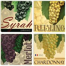 Wine Lover Ceramic Coasters, Set of 4, Syrah, Merlot, Reisling, Chardonnay