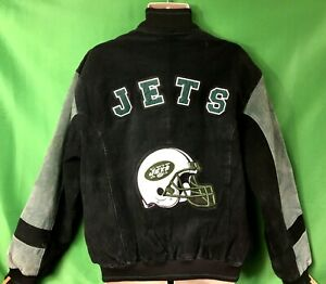 C17 NFL New York Jets Suede Green and Black Jacket Men's Large