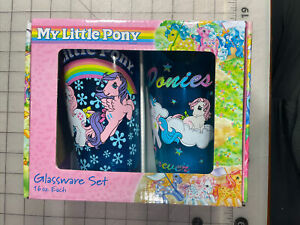 Silver Buffalo MLP031P1C Hasbro My Little Pony G1 Pint Glass Set,  2x 16-Oz