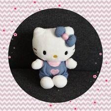 Peluche Doudou Hello Kitty salopette jeans coeur rose TBE 15cm