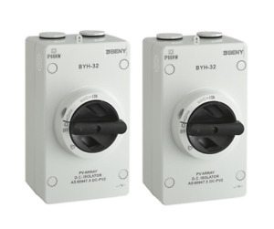 2 Pack - ZJ Beny Solar Isolator - Suits PV DC - 1000V / 32A Rated - IP66