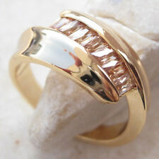 18K Gold Plated GP Champagne Topaz Bypass Cluster Statement Ring in Size 7.75