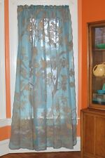"Paradise Bird Scottish Lace Curtains - 68 x 96"" Long, Turquoise/Stone"
