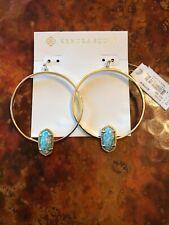 KENDRA SCOTT ELORA Hoop Earrings In Aqua Kyocera Opal NEW