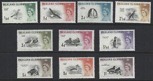 FALKLAND ISLANDS 1960 QEII Birds Set to 1/- (10) MLH