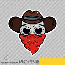 Skull Cowboy Cartoon Head Hat Red Vinyl Sticker Decal Window Car Van Bike 2216