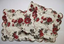 Red, Black, Olive on Creamy White Background Quilted Cotton Voile Table Runner