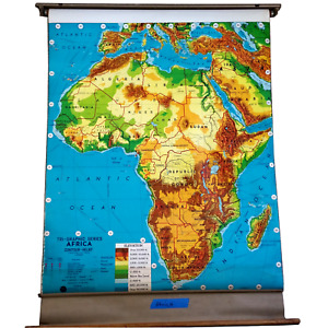 Large Mid Century Africa Roll Pull Down School Map Weber GORGEOUS! 56X40