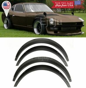 """1.75"""" Front 2.75"""" Rear ABS Black Flexible 4 Pieces Wide Fender Flares For Chevy"""