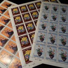FEUILLE SHEET MONACO N°948/950 x30 CONCOURS DE BOUQUETS FLEURS 1973 COTE 243€