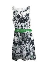 Dress Barn Green White And Black Floral Sundress With Green Belt Women's Size 6