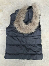 Aeropostale Extra Small Black Puffer Vest Faux Fur lined hood Women's Junior's