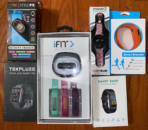 Lot Of 6 Smart Watch Activity Track Fitbit Style Bands All New In Box+Chargers