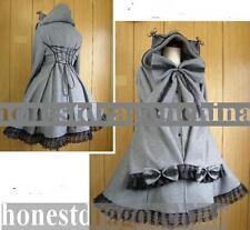 Gothic Lolita Wolle Mantel Grau Maßanfertigung C5