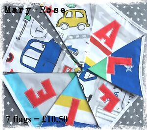 Baby Boy Personalised Name BUNTING Colourful~CARS~tractors~RED~blue BeepBeep