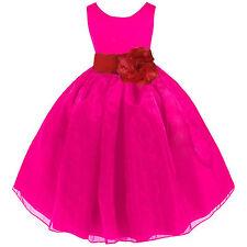 FUCHSIA HOT PINK ORGANZA FLOWER GIRL DRESS PAGEANT RECITAL WEDDING RECITAL KIDS