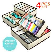 AU 4Pcs/set Underwear Bra Socks Ties Drawer Closet Divider Organiser Box Storage