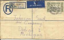 Sierra Leone Postal REGISTERED Envelope HG:C5 uprated SG#196(4)#189 BO 13/FE/54