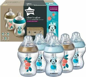 6 Pack Tommee Tippee 260 ml Closer to Nature Baby Bottles Dog or Cat Design
