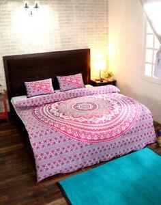Indian Pink Cotton Mandala Duvet Doona Cover Comforter Quilt Cover Bedding Set