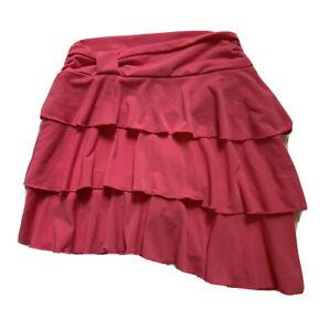 Amy Byer Girls Dark Pink Asymmetrical Tiered Spring/Summer Skort/Skirt Sz 6X EUC