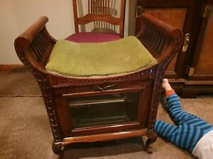 Antique Victorian carved Piano Stool