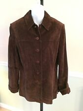 Lord & Taylor Chocolate Brown Button Down Leather Suede Jacket - Medium