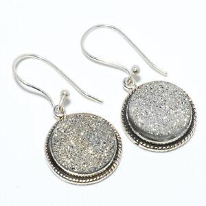 """Silver Agate Drusy 925 Sterling Silver Bali Earring Jewelry 1.33"""" W3119"""