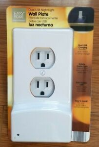 Dual USB Night Light Outlet Wall Plate With LED Night Lights