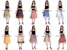 10 PC 100% Silk Women Rapron Print Short Wrap around Skirt REVERSIBLE PLUS SIZE
