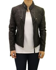 Ladies Real Leather Fitted Smart Short Zipped Black Biker Jacket